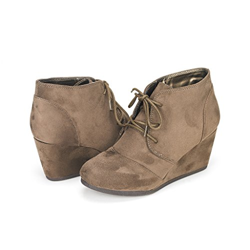 DREAM PAIRS TOMSON Women's Casual Fashion Outdoor Lace Up Low Wedge Heel Booties Shoes   khaki 9 B(M) US