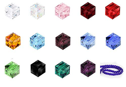 Wholesale Mix Lots Cube Crystal Beads 6mm Compatible with Swarovski Crystals Preciosa (600pcs) CCS11