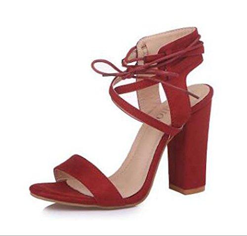 Zapatos Gran Alto Marrón de Tacón Tacón Huecas Tamaño y Mujer Alto de de Sandalias 1U1Awqrg