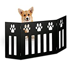 Kleeger Freestanding Folding Dog Gate - For Small Pets. [Paw Deco'r Decorative Design].No Tools Required (Black)