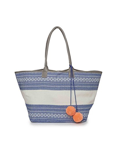 Ashiana, Borsa tote donna blu Blue and White Pattern with Coral Pompom Taglia unica