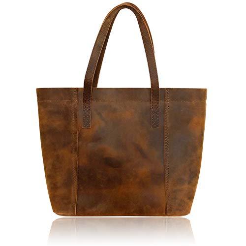 Minimalist Sturdy Durable Fits 15''Laptop Genuine Leather Handbag Tote Bag Shopper Purse Shoulder Bag School Bag Lady's Gift (Tote Bag Laptop Handbag Leather)