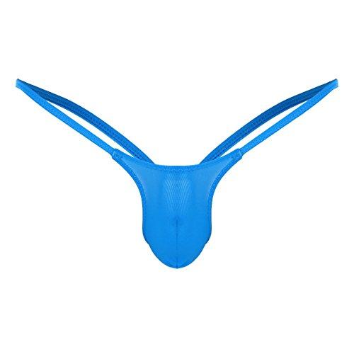 YiZYiF Men's Jockstrap Micro Thong Underwear Low Rise Bulge Pouch Panties Blue X-Large by YiZYiF (Image #1)