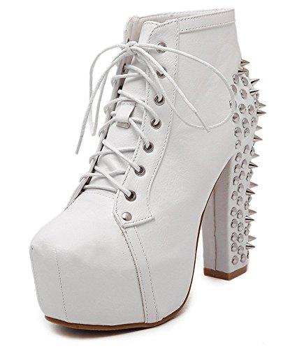 fb30cc734fead9 Aisun Womens Élégant Clouté Bout Rond Plate-forme Cachée Habillé Dentelle  Up Chunky Talons Hauts. chaussures ...