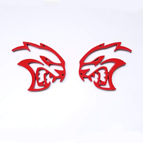 2pcs OEM Hollow Hellcat Left Right Emblem Badge 3D Logo Replacement for Chrysler Challenger Charger Srt Red