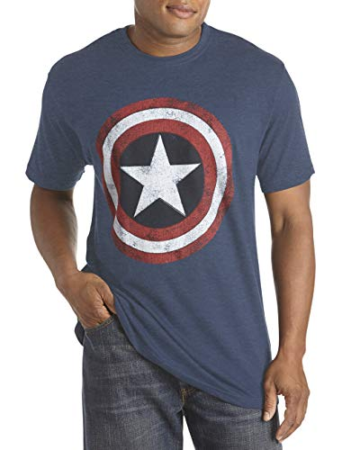 Marvel by DXL Big and Tall Captain America Graphic Tee Navy Heather