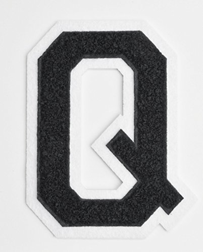 Varsity-Letter-Patches-Black-Embroidered-Chenille-Letterman-Patch-4-12-inch-Iron-On-Letter-Initials-Black-Letter-Q-Patch