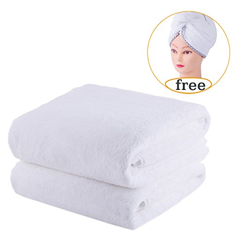 JML Microfiber Towel Sets 2 Pack, Luxury Hotel & SPA Bath Towels with Free 1 Hair Wrap - 350GSM - Super Soft and Absorbent, Fade Resistant Oversized Bath Towel, White
