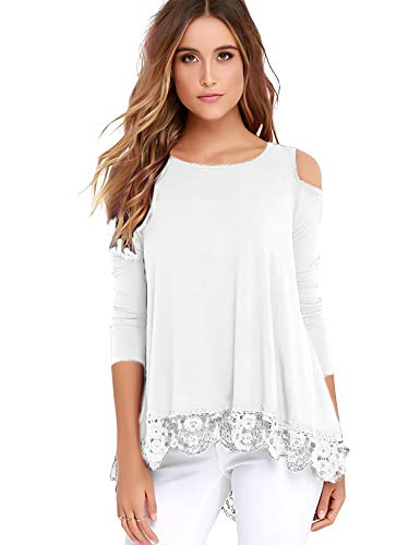 Tunic Trim Crochet (Uniboutique Womens Cold Shoulder Long Sleeve Lace Trim Tunic Tops for Leggings White M)