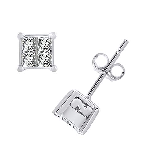 10k White Gold Princess Diamond Square Cluster Stud Earrings (0.38 cttw, H-I Color, I2-I3 Clarity) ()