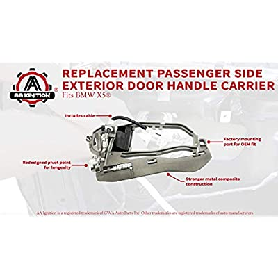 AA Ignition Front Passenger Side Door Handle, Right Side Replaces 51218243616 - Fits BMW X5 2000, 2001, 2002, 2003, 2004, 2005, 2006 - Exterior Door Handle Carrier Assembly Replacement: Automotive