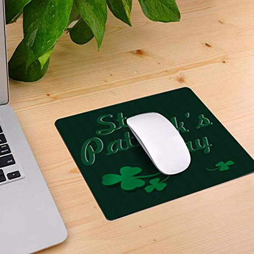 Computer Mouse Pad Custom, Vintage Letters St Patrick's Day Mouse Mat Non-Slip Rubber Base and Jersey Surface Gaming Mouse Pad for Laptop/Desktop/Office/Home 10 x 9 inch