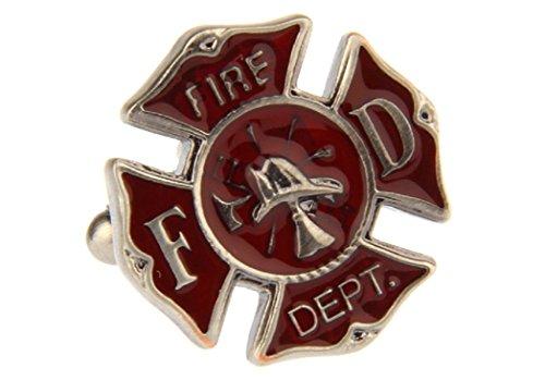 MRCUFF Fire Department Emblem Cross FD Pair Cufflinks in a Presentation Gift Box & Polishing (Emblem Cufflinks)