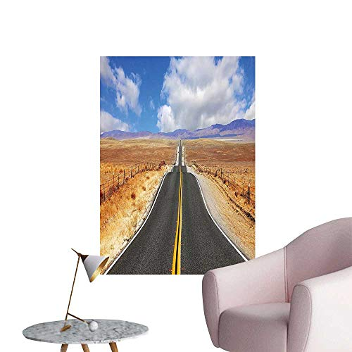 Vinyl Artwork Highway in California Steppe and Clouds Asphalt Road Horizon Hills Journey Easy to Peel Easy to Stick,16