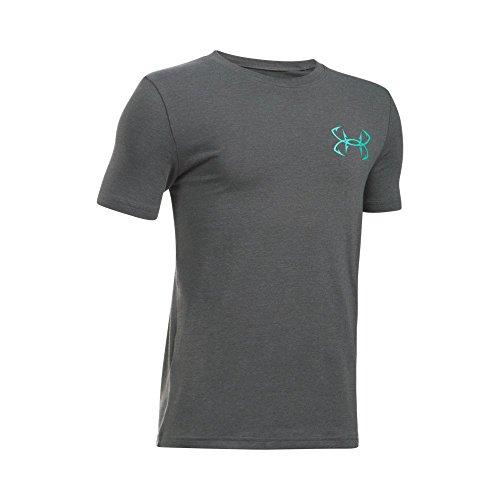 Under Armour Boys' Marlin Strikes Short Sleeve T-Shirt, Carbon Heather/Carolina Blue, Youth X-Small (Strike Youth T-shirt)