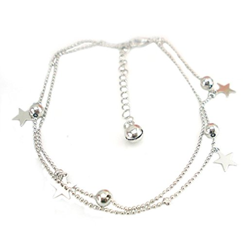elets for Women,Double Layer Dangle Stars Anklets Foot Chain Beach Jewelry (Silver) ()