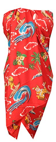 Alvish Sarong 41 Christmas Santa Claus Party Swimsuit Wrap Camp Pareo Holiday Beach Red