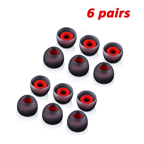 (Silicone Replacement Ear Tips Earbuds Eargels for Mpow,Senso,Zeus,Otium,Hussar,Letscom  Bluetooth Earphones, 6 Paris (Red and Gray))