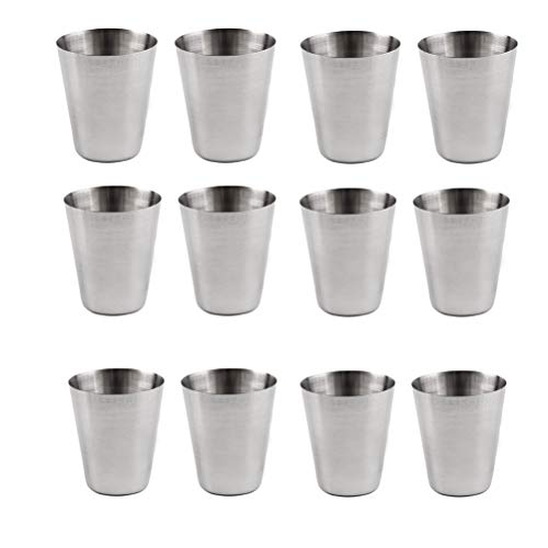 Mouthwash Cup - SUSHAFEN 12pcs Stainless Steel Cup Outdoor Mini Travel Camping Cups Set Small Portable Wide Mouth Water Beer Tea Coffee White Wine Cups Mouthwash Cups