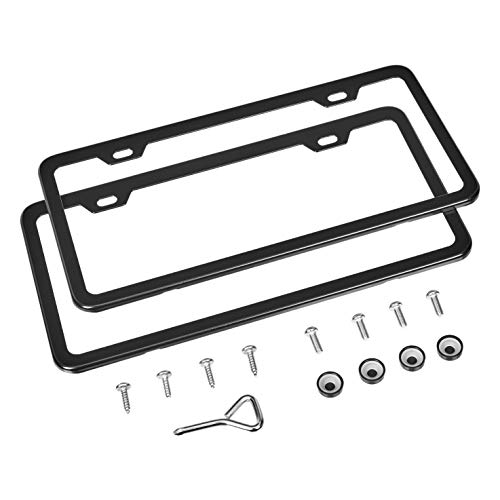 "Amazon Basics Matte Aluminum License Plate Frame Pair with Screw Caps – 2-Hole, 12.2"" x 6.3"", Black"