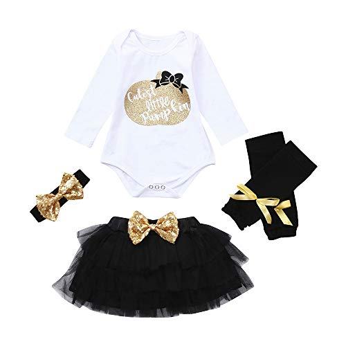 Koolsants 4PC Little Pumpkin Baby Romper Halloween Tutu Skirt Hair Band Legs -