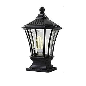Lampada da terra vintage alluminio nero e vetro ombra Lampada da giardino rustica E27 Impermeabile IP44 per terrazze… 41KAGIrB0ZL. SS300