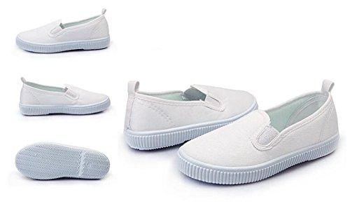 Bumud Kids Boy's Girl's Slip on White Canvas Shoe Uniform Sneaker(Toddler/Little Kid) (8 M US Toddler, White) by Bumud (Image #1)