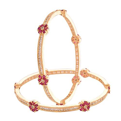 Ratnavali Jewels CZ Zirconia Gold Tone Red Baguette Diamond Elegant Sleek Bollywood Indian Bangles Jewelry Women