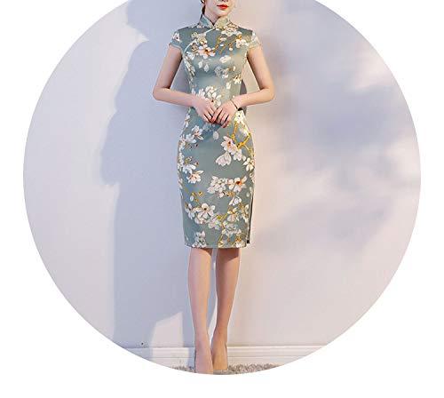 今晩わかりやすい冷ややかなチャイナドレス春と夏新しいファッション女性のレトロ半袖,8027,XXL