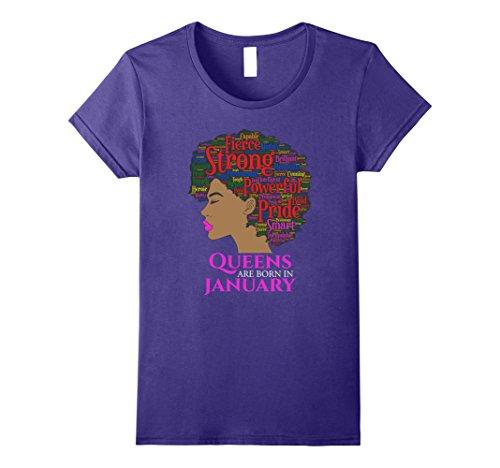African American Gift (Womens Queens Are Born In January Birthday Black Women T-Shirt Medium Purple)