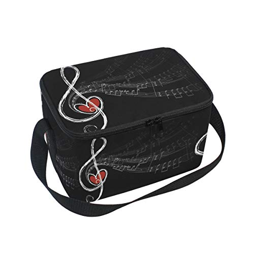 Lunch Bag Waterproof Travel Picnic Carry Case Music Notes Lunch Tote Boxes with Zipper