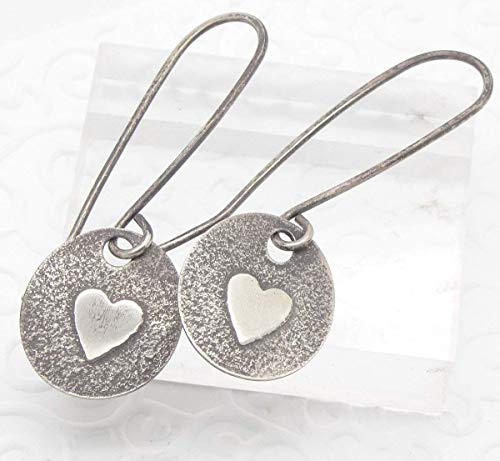 (Sterling Silver Heart Earrings with Oxidized Patina)