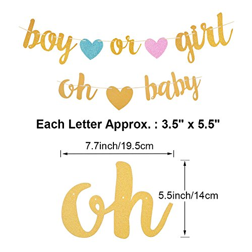 Gender Reveal Party Decorations - Glitter Letters OH BABY and BOY OR GIRL With Hearts Banner, Tissue Paper Tassels Garland Set for Baby Shower Party Decorations by Aonor (Image #2)