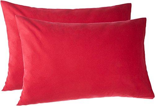 Pinzon 170 Gram Flannel Cotton Pillowcases, Set of 2, King, Merlot Red