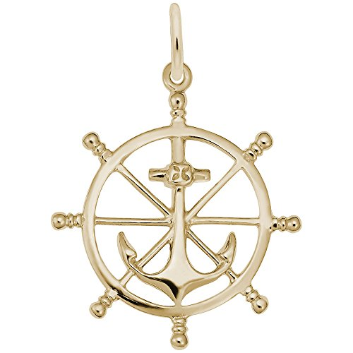 Ship Wheel Charm In 14k Yellow Gold, Charms for Bracelets and Necklaces