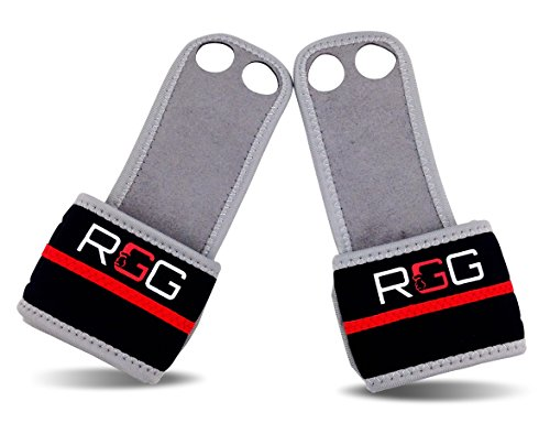 (New) Leather Hand Grips / Wrist Wraps for Crossfit WODs, Gymnastics - (Reinforced Strength) (Red Leather Grip)