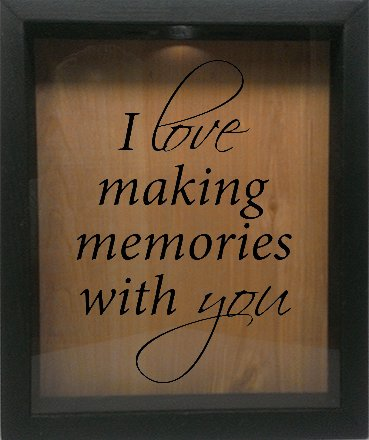 Wicked Good Decor Wooden Shadow Box Wine Cork/Bottle Cap Holder 9x11 - I Love Making Memories With You (Ebony (Memory Holder)