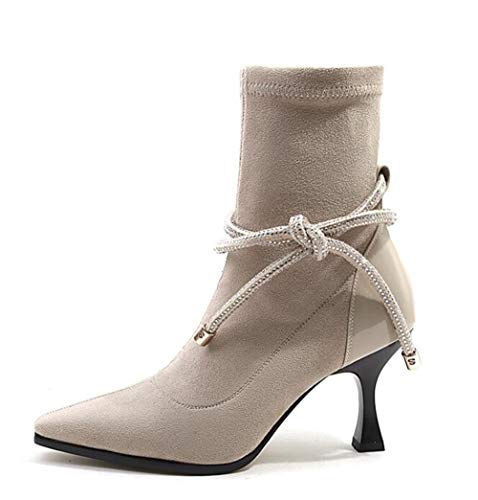 Cuir Courtes en HCBYJ modèles Chaussures Cuir Talons féminins Printemps Bottines en Mode Hauts Bottes hauts Sangle Talons Pointus Automne P4qvxP0r