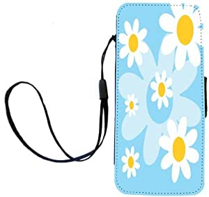 Rikki KnightTM Light Blue Daisies Retro 60's Design PU Leather Wallet Type Flip Case with Magnetic Flap and Wristlet for Apple iPhone 5 &5s