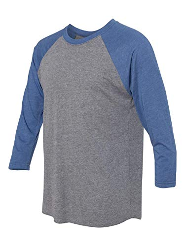 (Next Level Apparel 6051 Unisex Tri-Blend 3 By 4 Sleeve Raglan - Vintage Royal & Premium Heather, Extra Large)