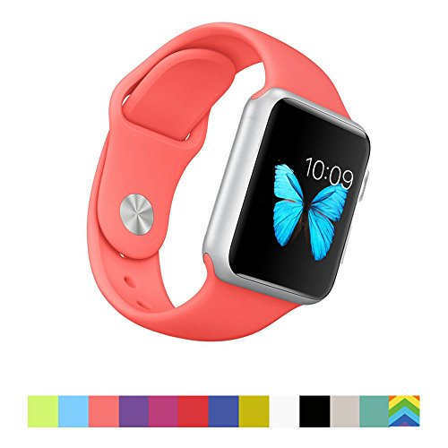 Photo - Apple Watch Band - WantsMall Soft Silicone Sport Style Replacement iWatch Strap for 42mm Apple Watch Models (Coral)