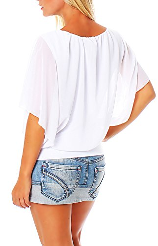 Femme Blanc lgant Unique Loose Tunique Haut Blouse Oversize Taille malito 6296 7wA0qFAn