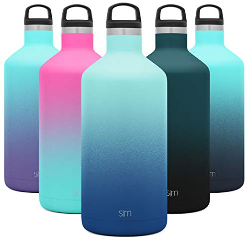 Simple Modern 64oz Ascent Water Bottle - Hydro Vacuum Insulated Growler Tumbler Flask w/Handle Lid - Half Gallon Leakproof Chug Jug Double Wall Stainless Steel Reusable Ombre: Pacific Dream