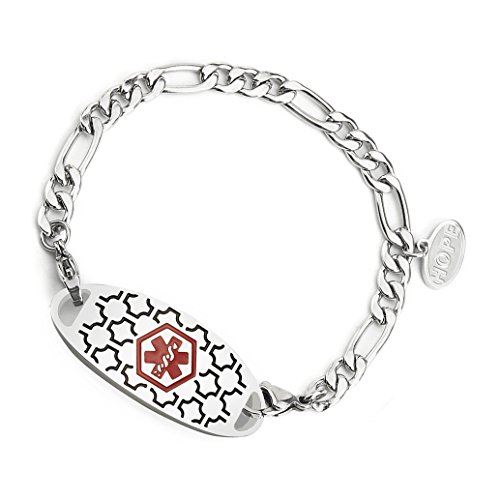 Figaro Style Medical Id Bracelet - AMOZO JEWELRY Medical Alert ID Bracelets with Stainless Steel Figaro Chain Link,Free Engraving