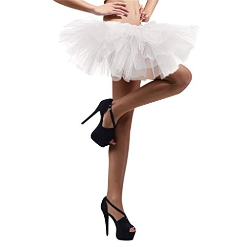 DreamHigh Sexy Adult Womens Classic 5 Layered Tulle Fancy Ballet Dress Tutu Skirts (White Tutu Dress For Adults)
