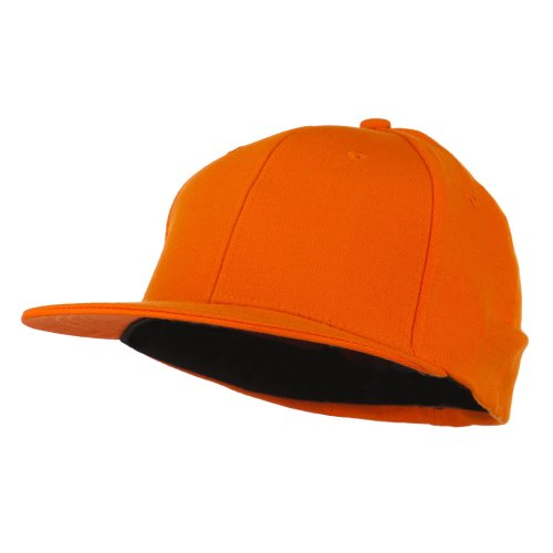 Flat Bill Fitted Flex Cap - Orange OSFM (Osfm Flex Cap)