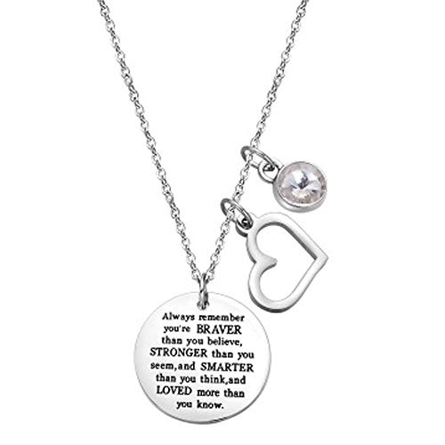 wugouming You are Braver Than You Believe Inspirational Necklace with Birthstone Gift Women Girl (Diamond-April)