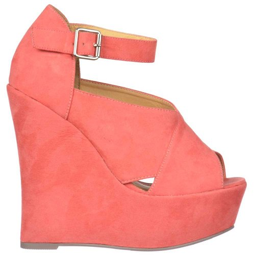 Coral Coral Pink Onlineshoe Wedges Coral Peep Strap Ankle Platform Womens Suede Toe 14HT4nSq5