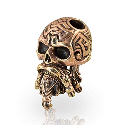 Paracord Bead Celtic Bearded Skull - Metal DIY Paracord Beads Charms EDC Accessories for Custom Bracelet Knife Lanyard Zipper Pull - Handmade Paracord Charms Supplies Crafts from Asterom