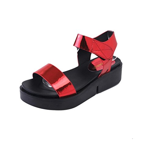 Elevin (tm) Kvinnor Sommarens Mode Roman Peep Toe Plattform Flip Flops Sandal Skor Skor Röd